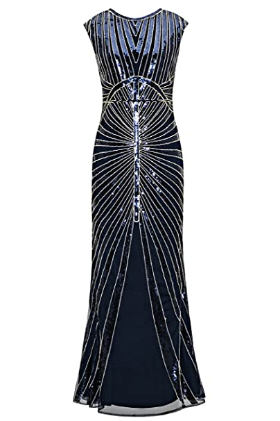 7fe28bf01b Metme Women s 1920s Vintage Sequin Long Flapper Gatsby Dress for Party (XS