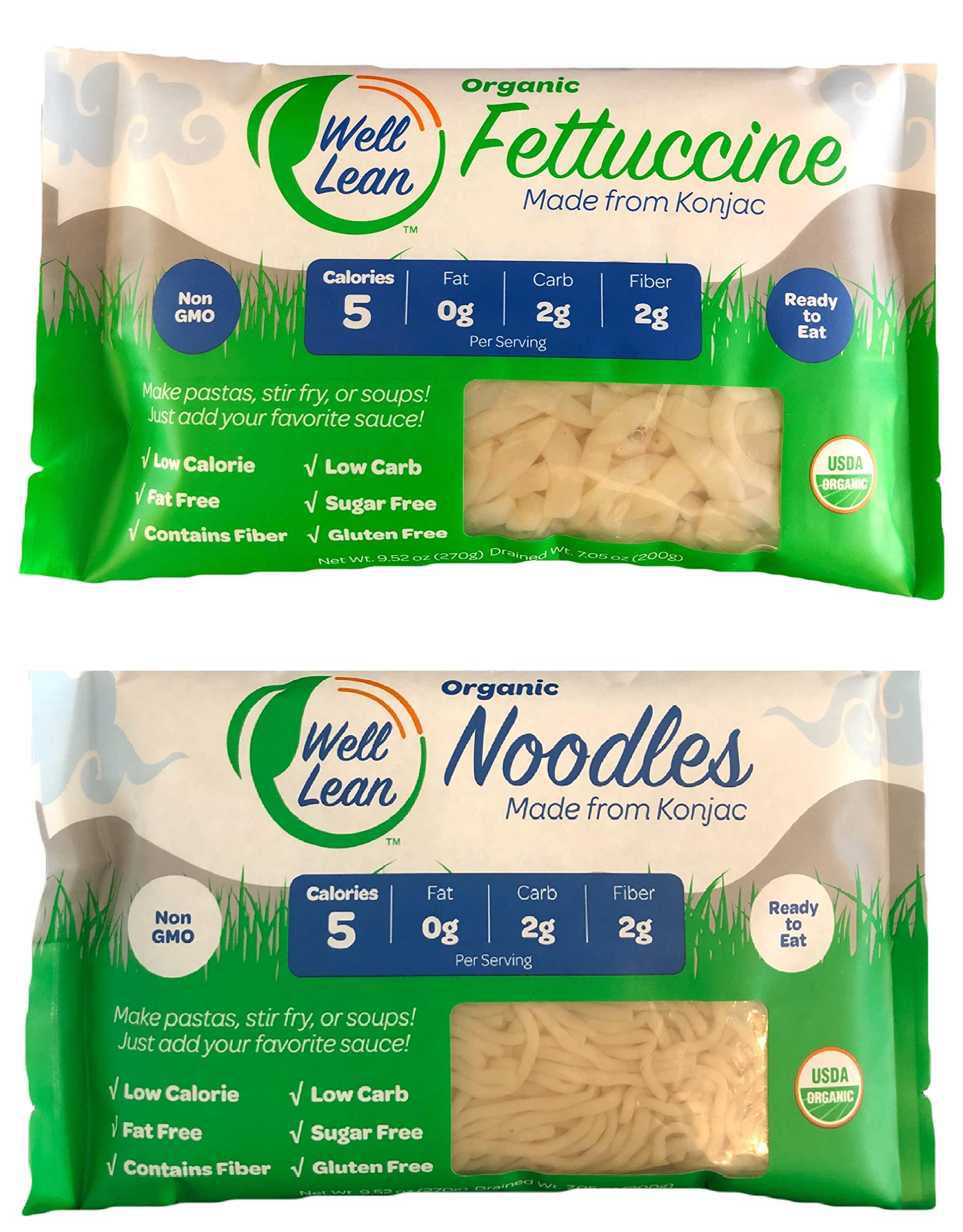 Organic Well Lean Variety (20 Pack/190.3 oz) - Premium Shirataki [ODOR FREE, Non-GMO, Ready to Eat, No Boiling] - (Includes: 10 Shirataki Noodles and 10 Shirataki Fettuccine) - Premium Konjac Pasta by Well lean