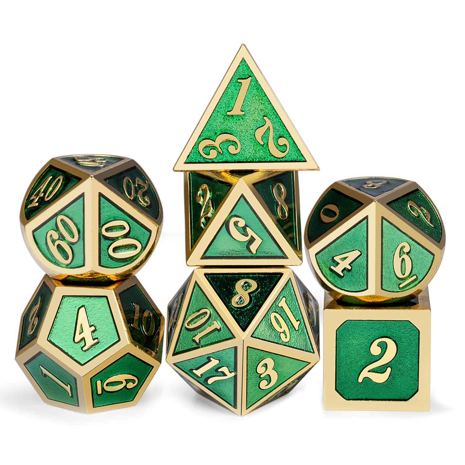 Meatl Dice Set D&D, 7 die Glitter Green DND Dice with Silver Metal Case Dungeons and Dragons Role Playing Game and Tabletop Games