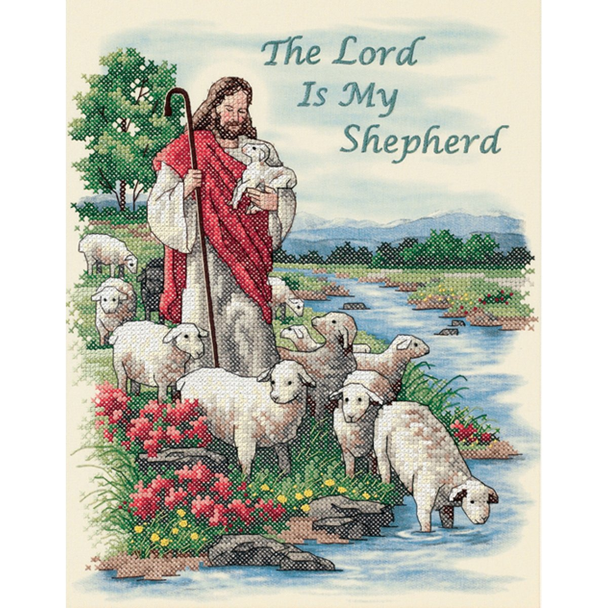 Dimensions 'Lord is My Shepard' Stamped Cross Stitch Kit, 11'' W x 14'' H