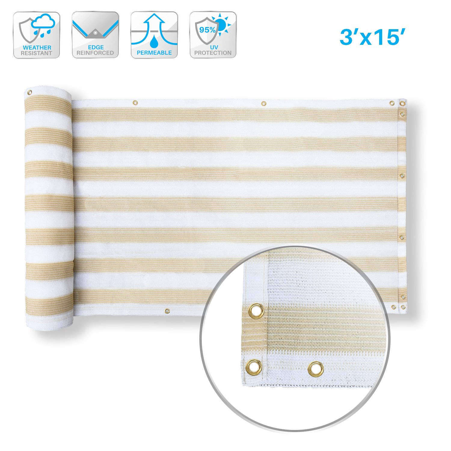 PATIO Deck Privacy Screen 3' x 15' Perfect For Outdoor,Backyard, Balcony,Pool,Porch,Railiing,Gardening,Fence Shield Rails Protection Beige and White-Custom Size Available