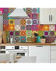 Azulejos adhesivos de imitación para pegar en la pared, 15 x 15 cm, 60