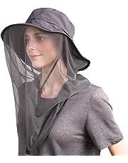 Flammi Mosquito Head Net Hat Safari Hat UPF 50+ Sun Bucket Hat with Face Neck Mesh Protection for Men/Women