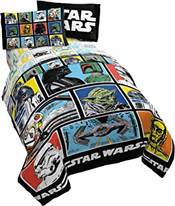 Star Wars Classic Grid 4 Piece Twin Bed Set - Includes Reversible Comforter & Sheet Set - Bedding Features Luke Skywalker - Super Soft Fade Resistant Microfiber (Official Star Wars Product)