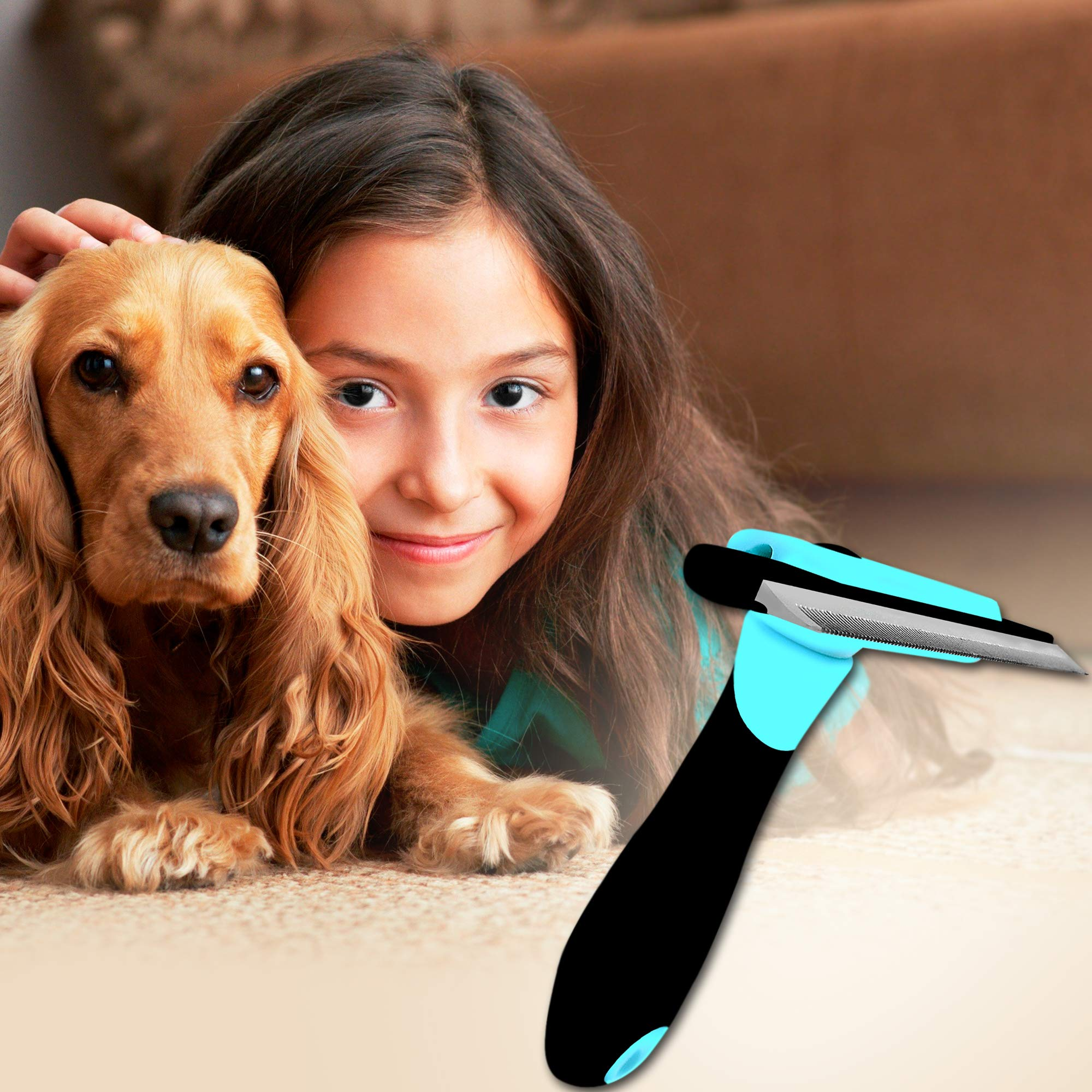 DakPets Deshedding Brush-Dog Hair & Cat Hair Shedding Tool-Effective Grooming Tool for Cats Dogs with Short Medium Long Fur-Reduces Pet Hair Shed by Up to 90% by DakPets