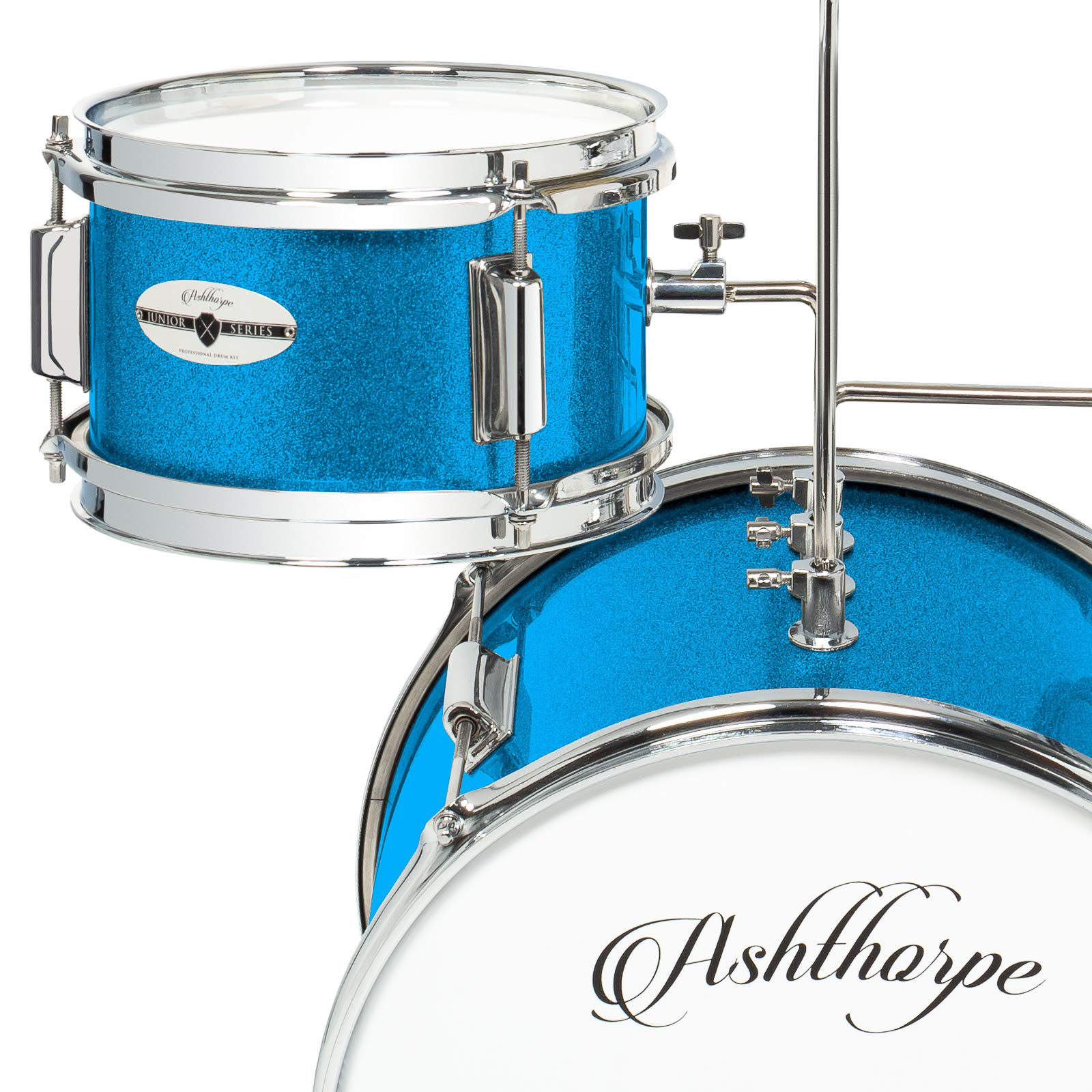 Ashthorpe 3-Piece Complete Kid's Junior Drum Set - Children's Beginner Kit with 14'' Bass, Adjustable Throne, Cymbal, Pedal & Drumsticks - Blue by Ashthorpe (Image #4)