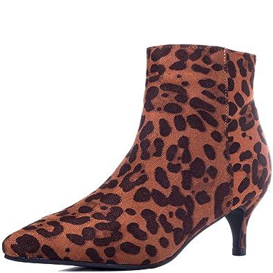 16f3b7633f48a Kitten Heel Ankle Boots Shoes Leopard Suede Style Sz 3