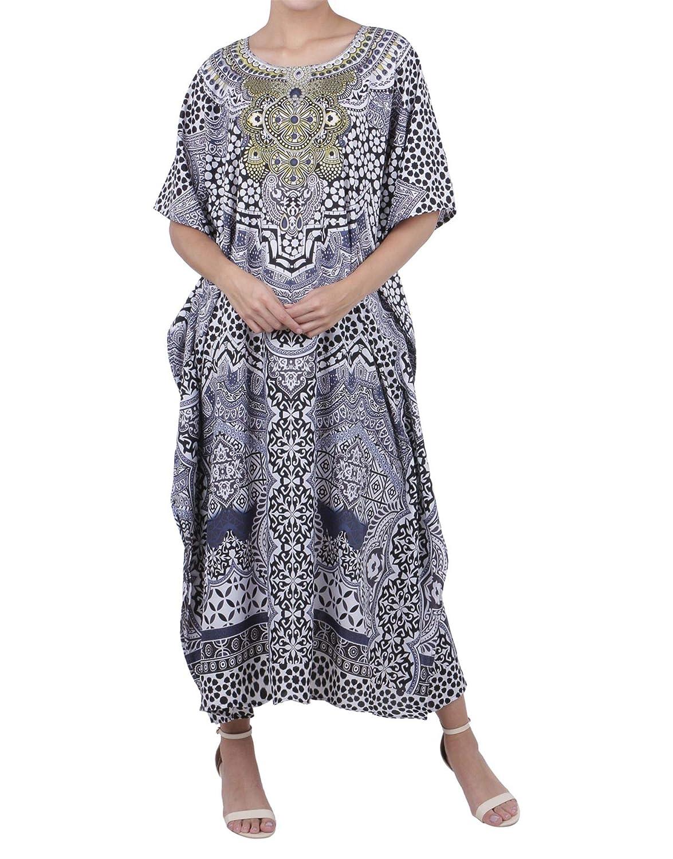1cd820185e Miss Lavish London Kaftan Tunic Plus Size Beach Cover Up Maxi Dress  Sleepwear Embellished Kimonos [K131] at Amazon Women's Clothing store: