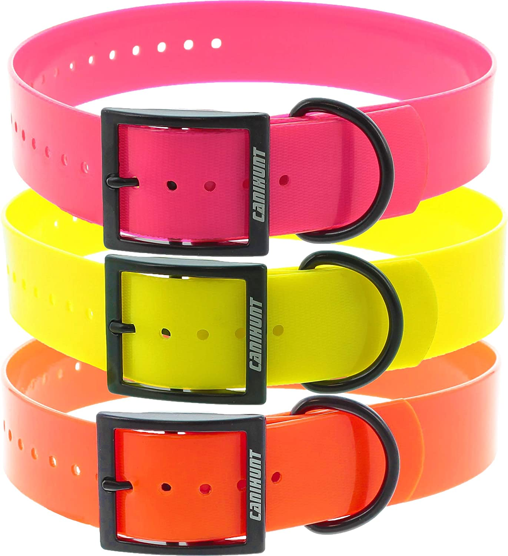 Canihunt Dog Accesorios Pack 3 collares Xtreme PU – Hebilla doble – Color naranja, amarillo y rosa (3,8 x 0,25 x 70 cm)