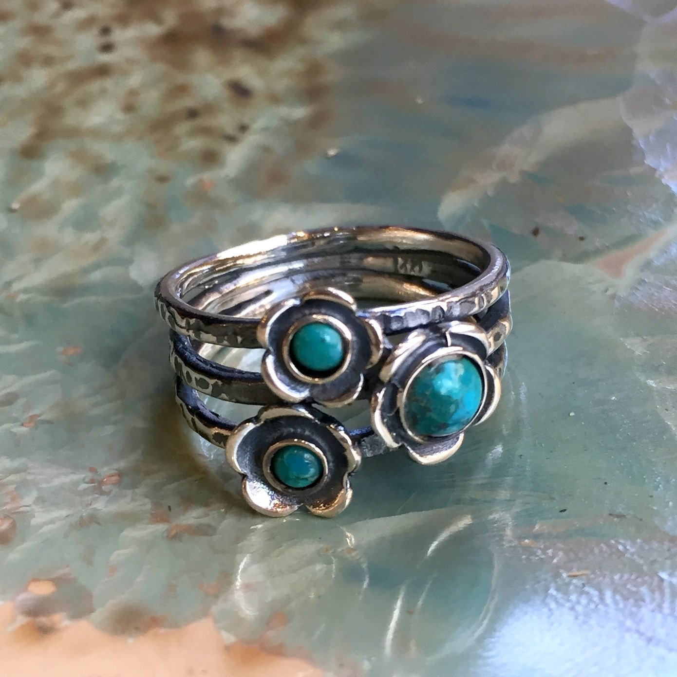 Guess R1686-5 Turquoises ring sterling silver ring mothers ring family ring three birthstones ring stacking rings Gemstones ring
