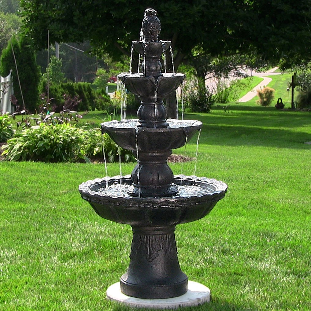 Amazon.com : Sunnydaze 4 Tiered Electric Pineapple Water Fountain, Black,  52 Inch Tall : Garden U0026 Outdoor