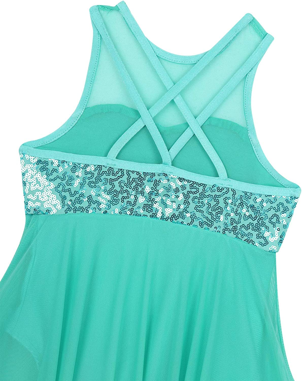 JEATHA Kids Girls Sleeveless Shiny Sequins Irregular Hem Dress Criss Cross Back Lyrical Latin Jazz Ballroom Dancewear