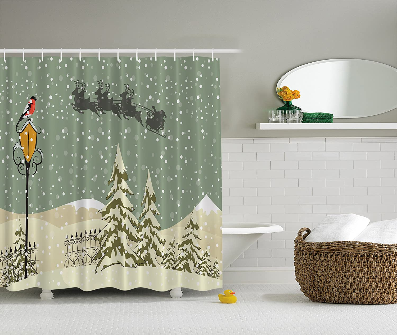 New Year Shower Curtain Santa Claus Flying Reindeer Christmas Green Beige White