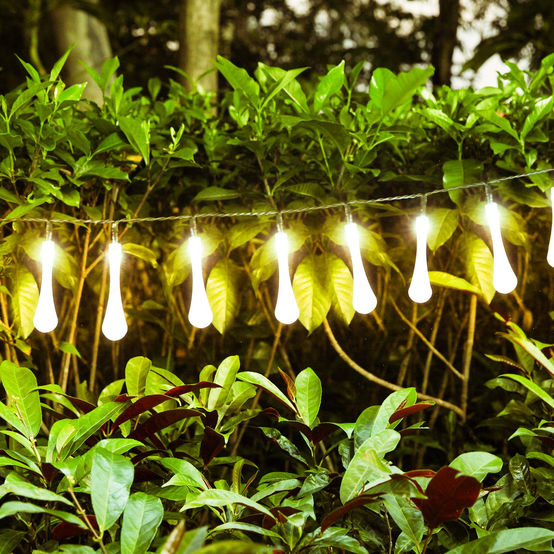 Blanc Chaud Patio Guirlandes Lumineuses Dext/érieur Mariage 40 LED 24ft Luminaires Ext/érieur Imperm/éable Forme de Goutte deau 8 Modes Pour Jardin d/ét/é Tente