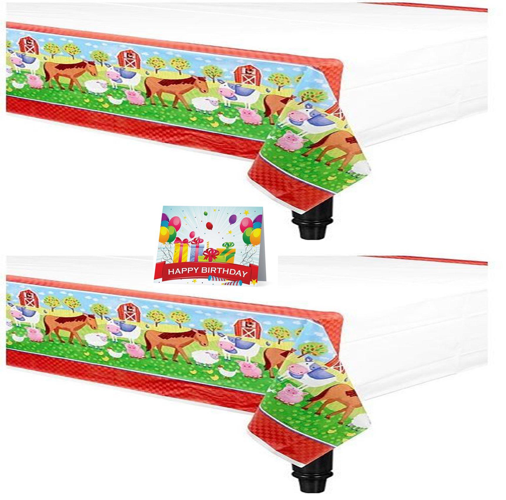 Barnyard Fun Animal Birthday Party Plastic Table Covers Bundle Pack of 2