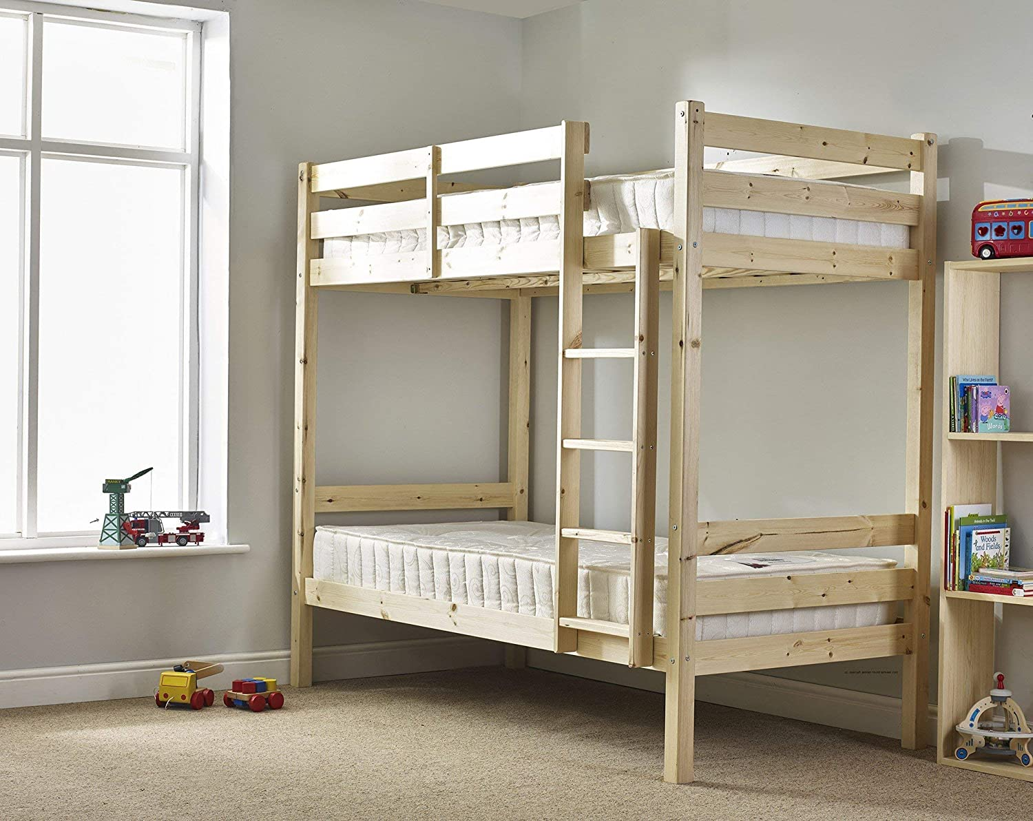 Amazon.com: Pine Bunk bed - 3ft single bunk beds - heavy duty, can ...