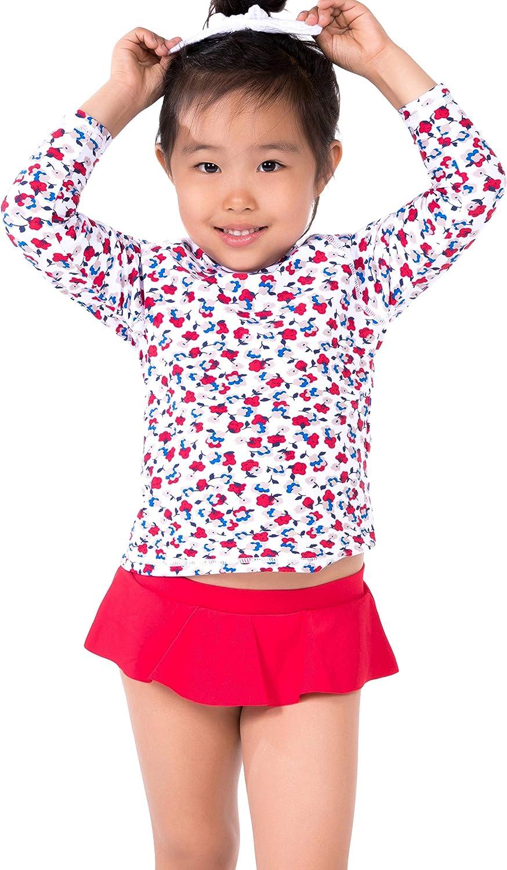 ToBeInStyle Girls 3//4 Sleeve Graphic Print Mock Neck Rashguard Top