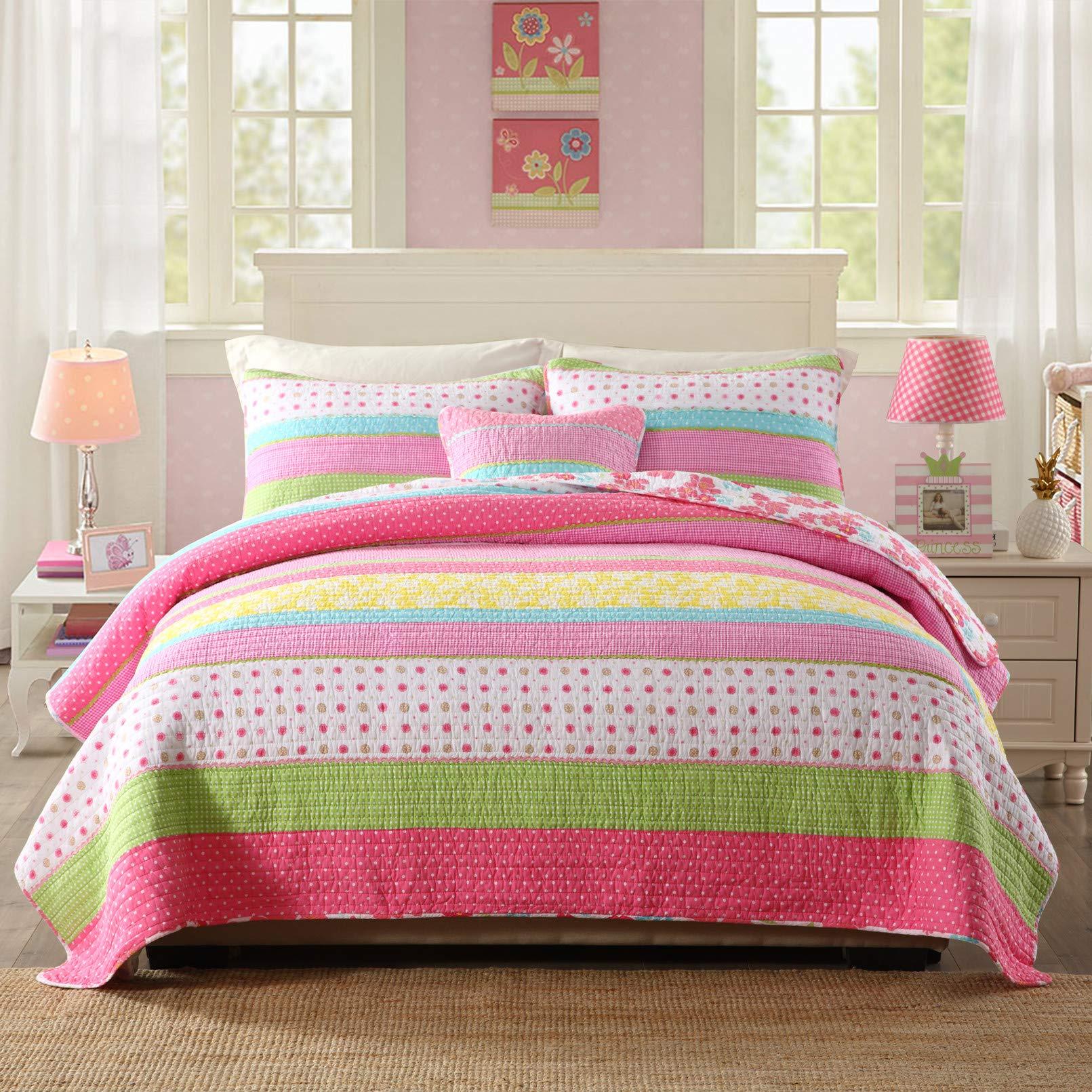 Best Comforter Set 3 Pieces Bedding Set Pink Dot Striped Floral Bedspread Quilt Sets for Girl Kids Children Cotton by Comforbed