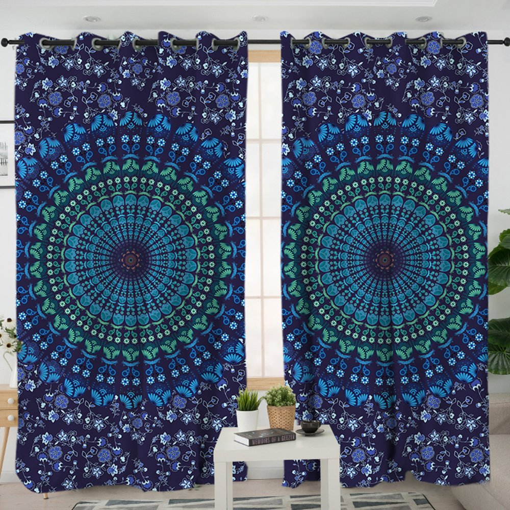 Sleepwish Blue Mandala Curtain Indian Hippie Curtains Valance Curtain Drapery Bohemian Window Treatments Grommet Blackout Curtains (1 Panel, 52x84 inch) Youhao SCU015436311
