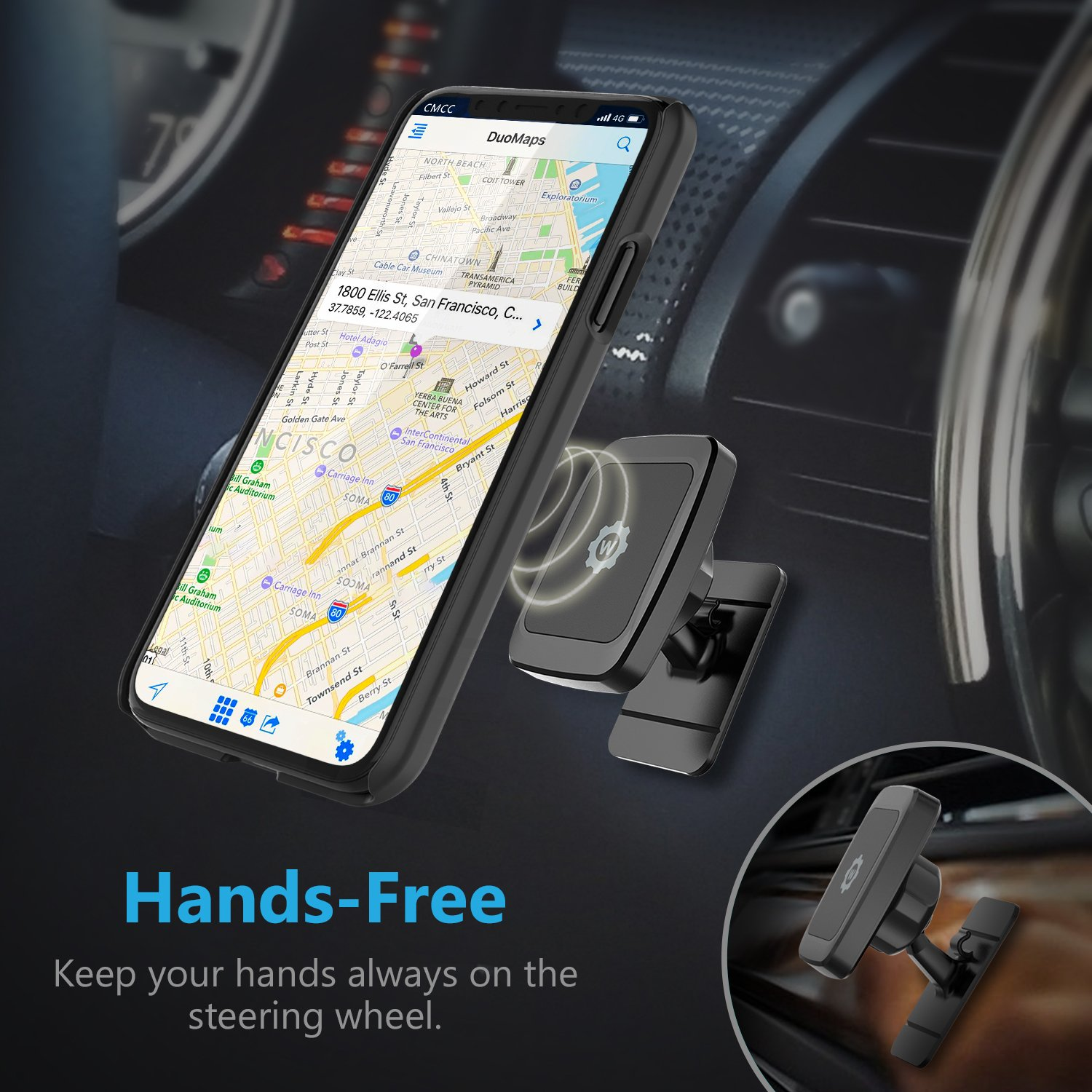 Stick rectangle on mount Rectangle Stronger Design WizGear Universal Stick On Dashboard Magnetic Car Mount Holder for Cell Phones and Mini Tablets with Fast Swift-snap Technology, Magnetic Phone Car Mount