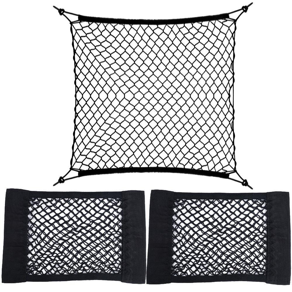 2 STK. Netztasche mit Klettverschluss + 1 STK. Gepäcknetz mit 4 Haken Auto Rücksitz Organizer Schutznetz Autositz Aufbewahrung Ablage Kofferraumnetz