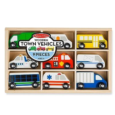 Melissa & Doug Wooden Town Vehicles: Toys & Games