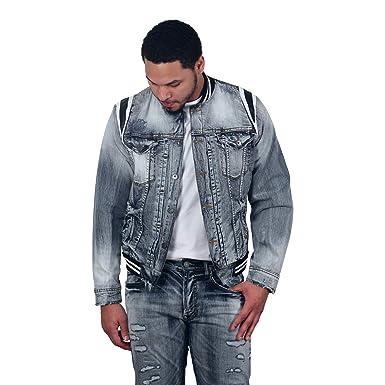 8b89bf6bfbb2 Jordan Craig Barcelona Denim Varsity Jacket at Amazon Men s Clothing ...