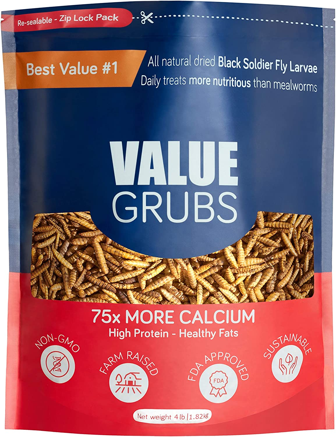 Value Grubs 4 lbs - Better Than Dried Mealworms for Chickens - Non-GMO & 75X More Calcium Than Meal Worms - Chicken Feed & Molting Supplement - BSF Larvae Treats for Hens, Ducks, Birds