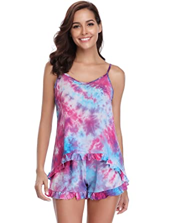 a8a4403bf13b6 Aibrou Femme Pyjama Coton Imprimé avec Short Ensembles de Pyjama joil Motif  Vêtement de Nuit Court Confortable sans Manche 2 Pieces  Amazon.fr   Vêtements et ...