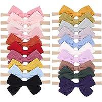 20pcs Baby Girls Nylon Hair Bows Headbands Linen Hair Bands Elastic Hair Accessories for Kids Infants Newborn