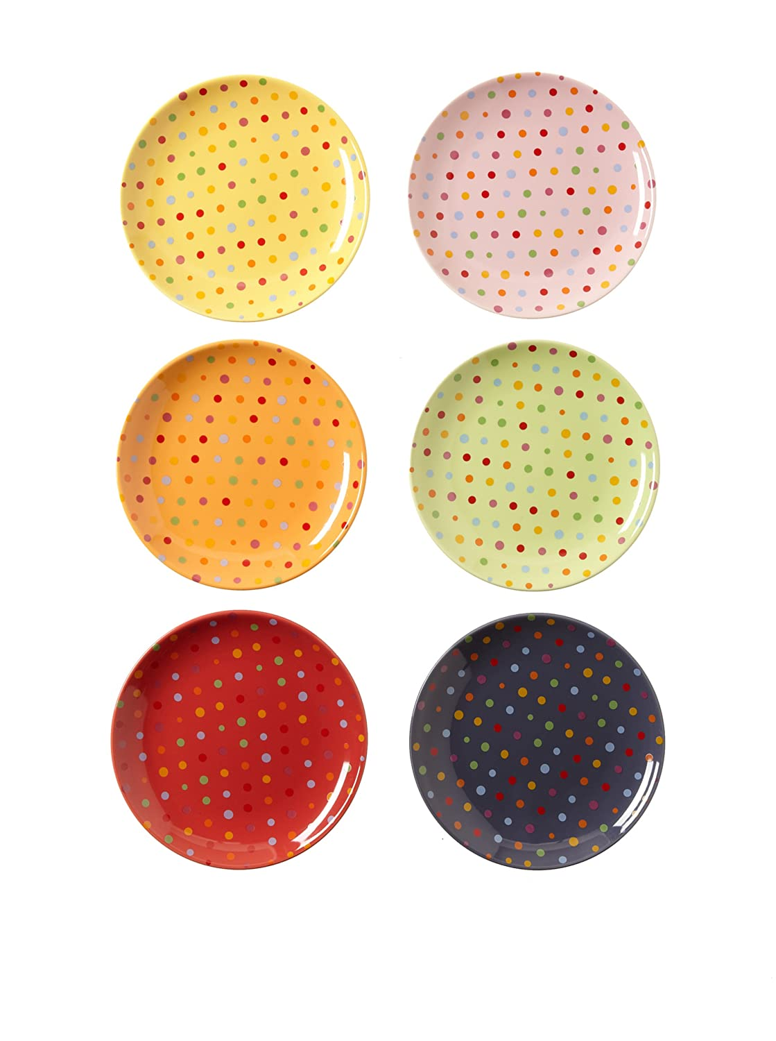 Amazon.com | Classic Coffee \u0026 Tea Polka Dot Dessert Plates Set of 6 Appetizer Plates Accent Plates  sc 1 st  Amazon.com & Amazon.com | Classic Coffee \u0026 Tea Polka Dot Dessert Plates Set of 6 ...