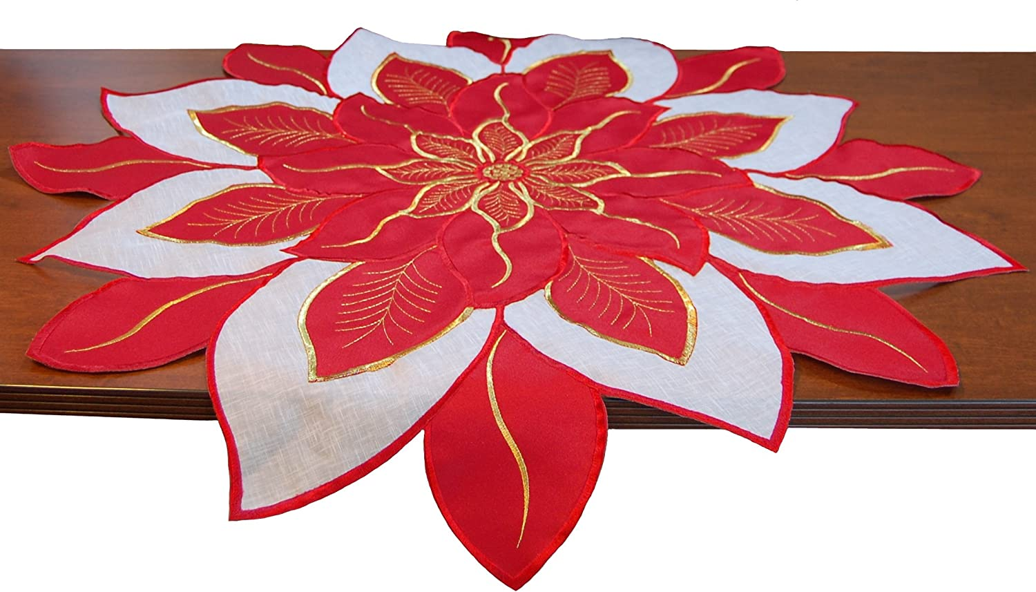 """EcoSol Designs Embroidered Holiday Table Topper (33.5"""" x 33.5"""", Red) Poinsettia"""