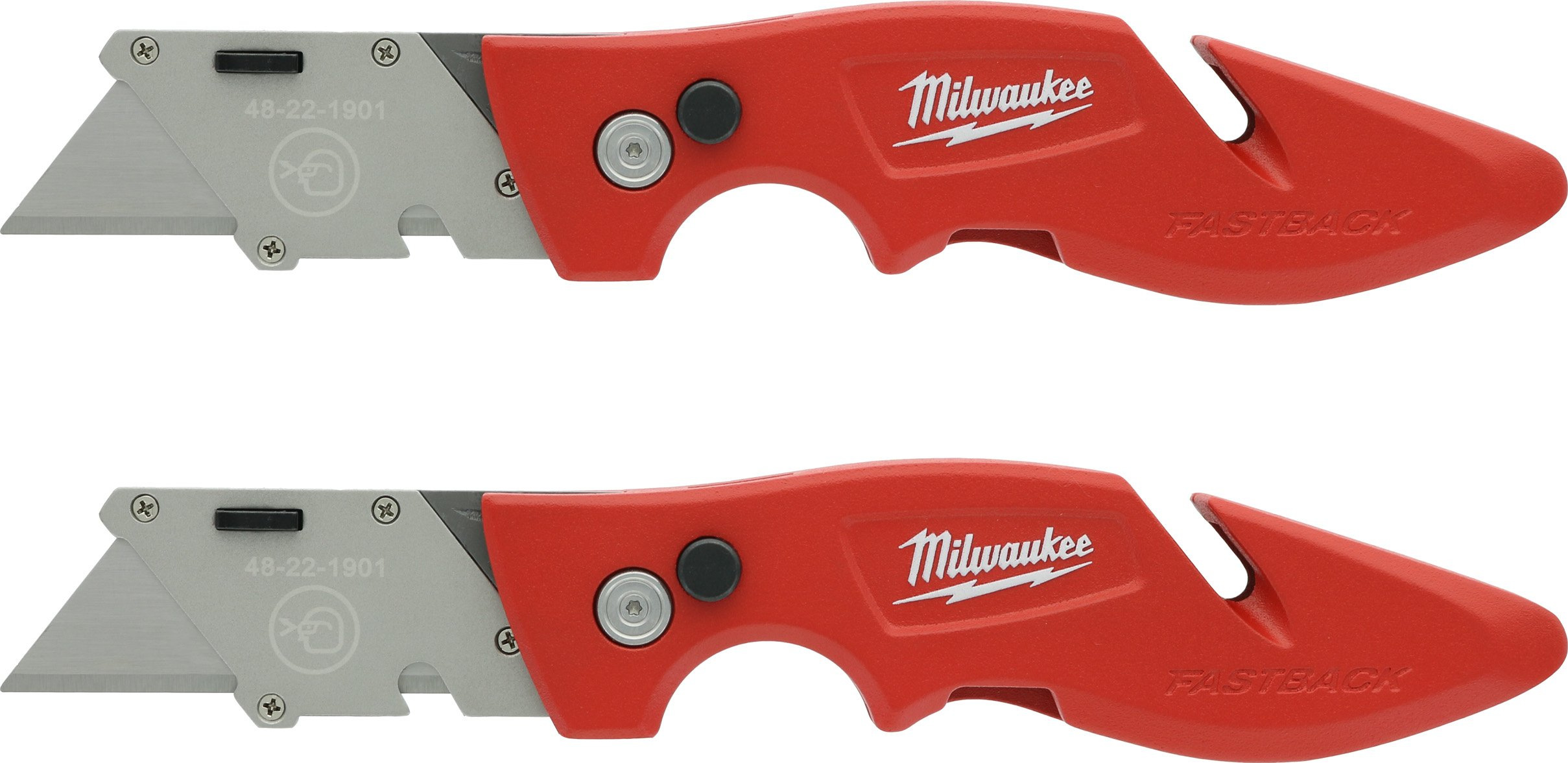Milwaukee 48-22-1901F Fastback Utility Knife with 4 Blade Storage, Wire Stripping Compartment, and Gut Hook (2 Pack of 48-22-1901)