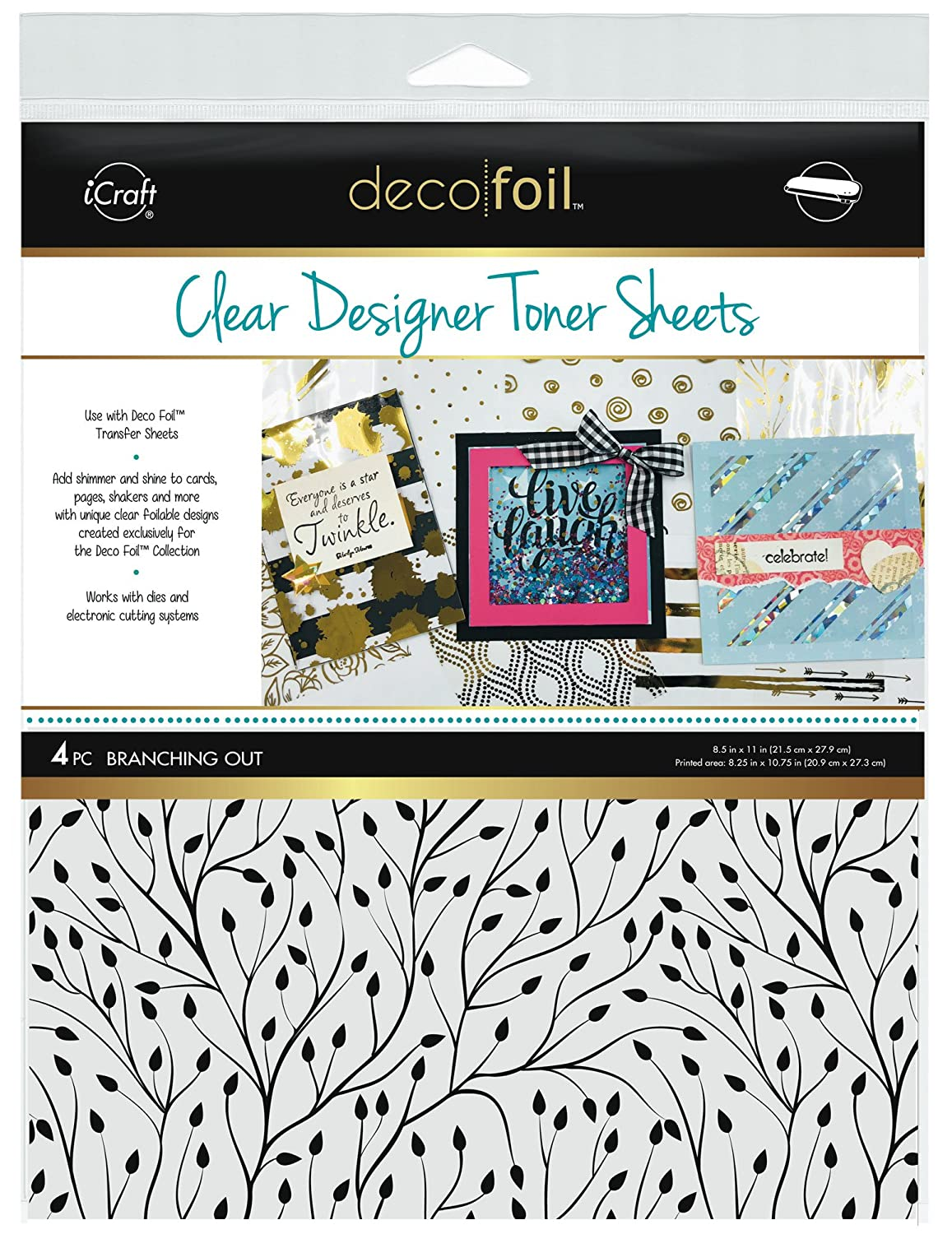 Deco Foil Clear Toner Sheets 8.5X11 4/pkg-Branching Out Thermoweb DFTS-5518