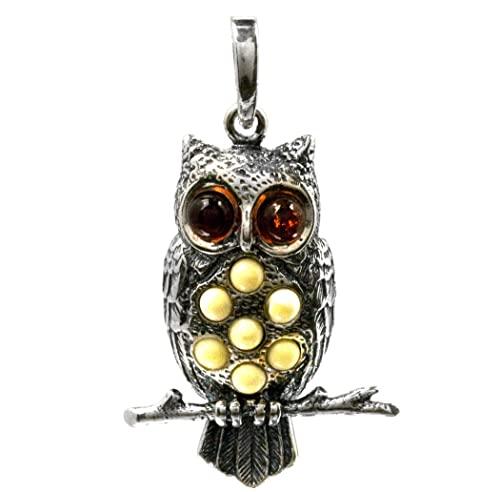 Multicolor Amber Sterling Silver Medium Owl Pendant