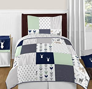 Sweet Jojo Designs 4-Piece Navy Blue, Mint and Grey Woodsy Deer Boys Kids Childrens Twin Bedding Set