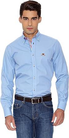 La Española Camisa Hombre Fitted Azul Celeste S: Amazon.es: Ropa y accesorios