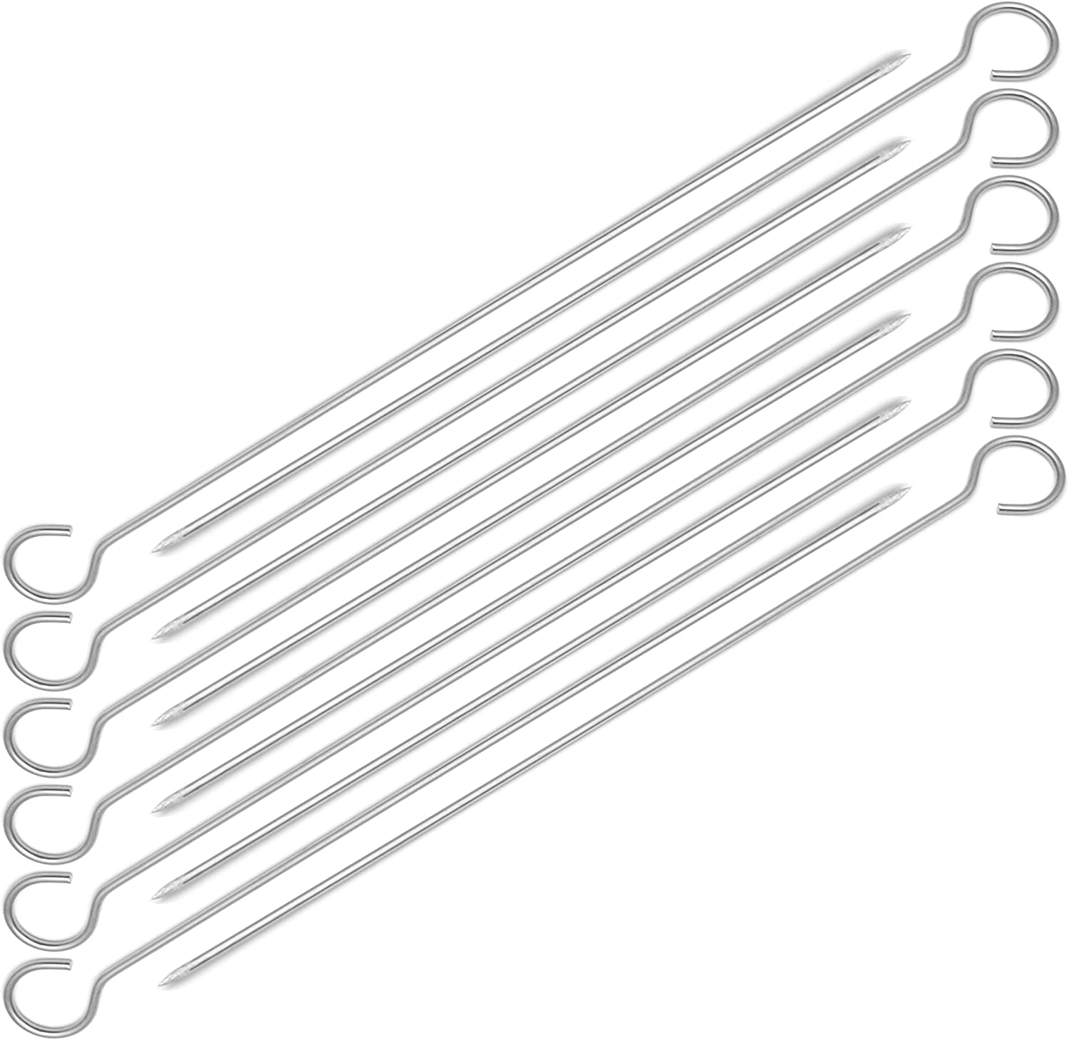 12-inch Stainless Steel Round Shish Kebab BBQ Skewers Pack of (12) CharbabGrill PB_201_12R