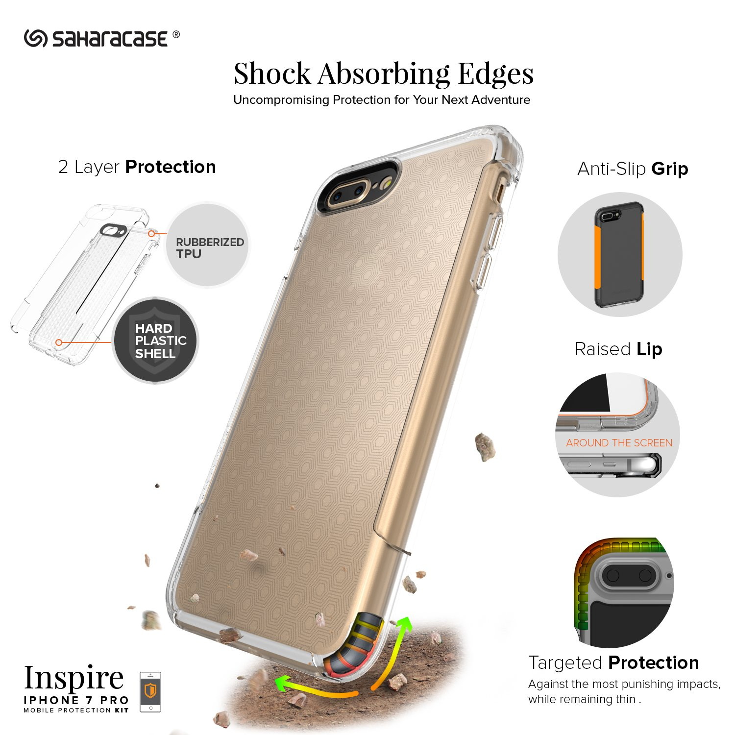 Saharacase iphone 6 6s crystal clear case rose gold edge saharacase - Amazon Com Iphone 8 Plus And 7 Plus Case Saharacase Inspire Protective Kit Bundled With Zerodamage Tempered Glass Screen Protector Rugged Slim Fit