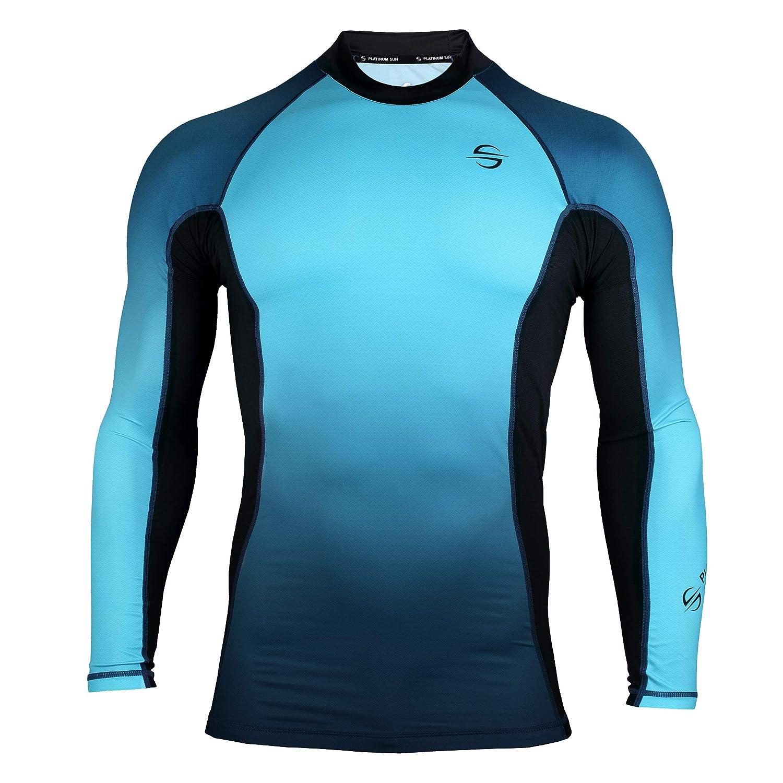 Mens Rash Guard Long Sleeve Surf Shirt Swimsuit - Quick Dry Sun Protection Clothing UPF 30+/50+
