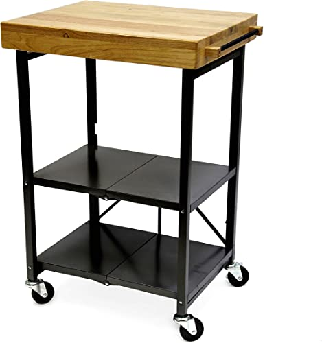 Origami Foldable Rolling Kitchen Island Cart, Food Serving Cart, 3-Tier Storage Shelf with Wood Top, Microwave Stand, Heavy Duty, Black