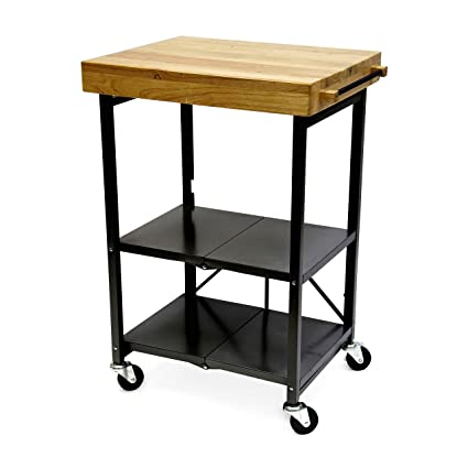 Origami Foldable Kitchen Island Cart, Black
