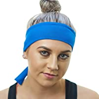 Women's Workout Headband - Lightweight, Non-Slip & Moisture Wicking - The Perfect Running Sweatband - Black Sports Head Tie Bandana - by Red Dust Active