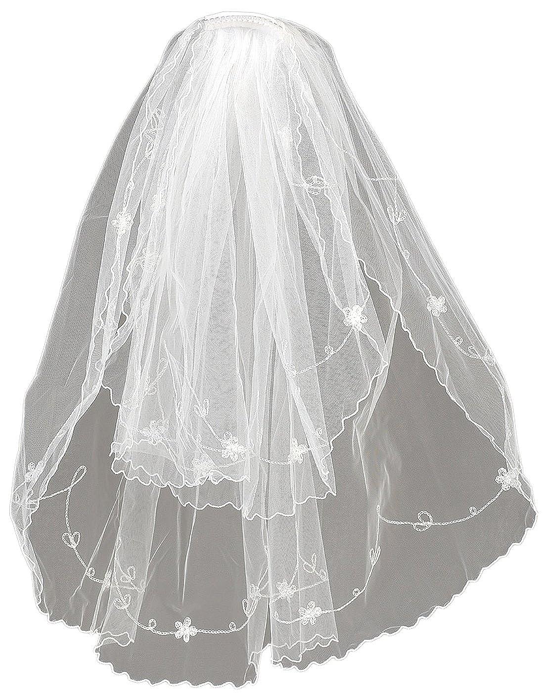 Angels Garment Girls White Flowers Details Communion Bridal Veil