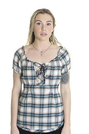 Amazon.com: Belle du jour – Mujer studded blusa campesina en ...