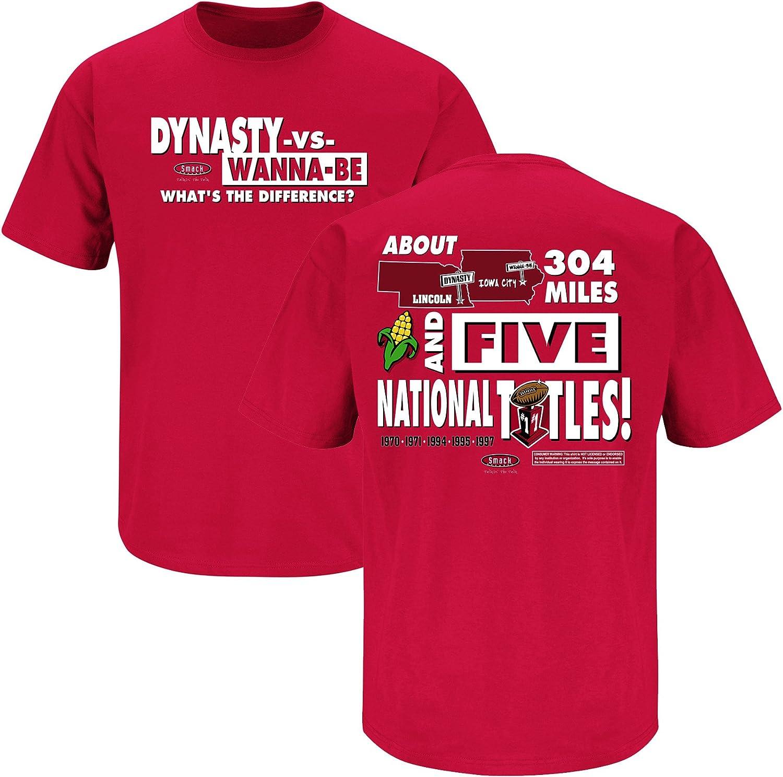 Dynasty Vs Wannabe Red T-Shirt Smack Apparel Nebraska Football Fans S-3X