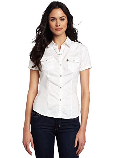 88c052e786 Levi's Women's Short Sleeve Snap Front Western Shirt, White, Small ...