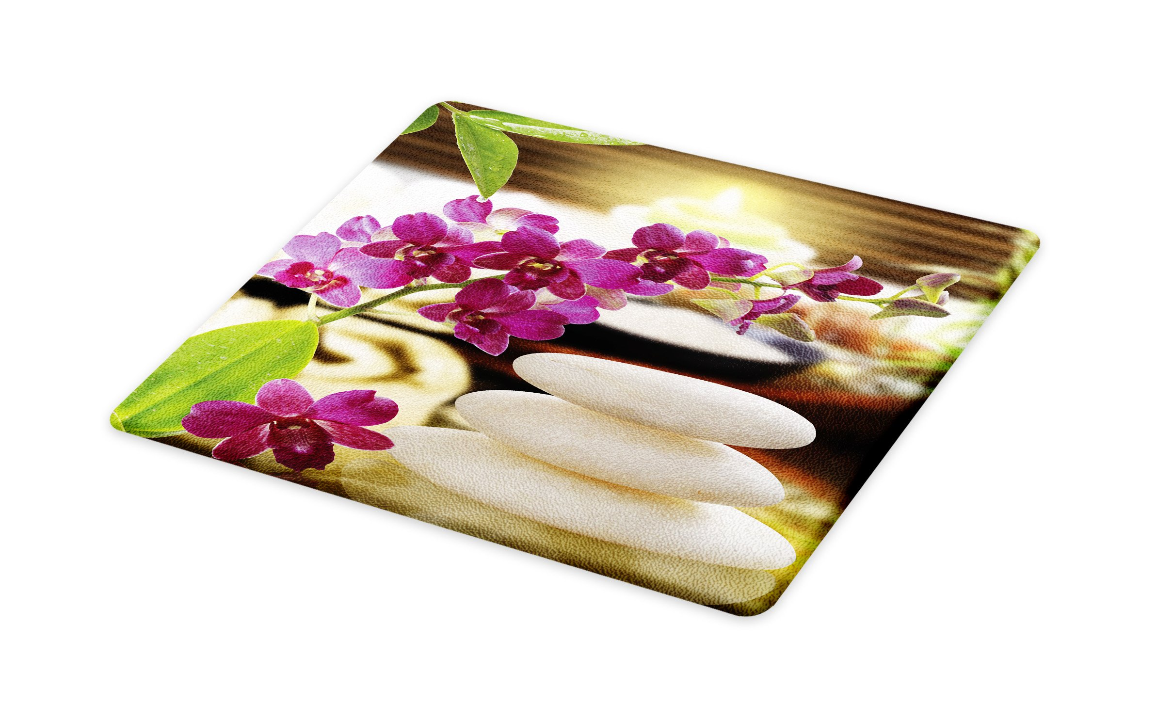 Lunarable Spa Cutting Board, Refreshing Spa Day with Stones Herbal Salts and The Exotic Flowers Print, Decorative Tempered Glass Cutting and Serving Board, Small Size, Purple White and Green