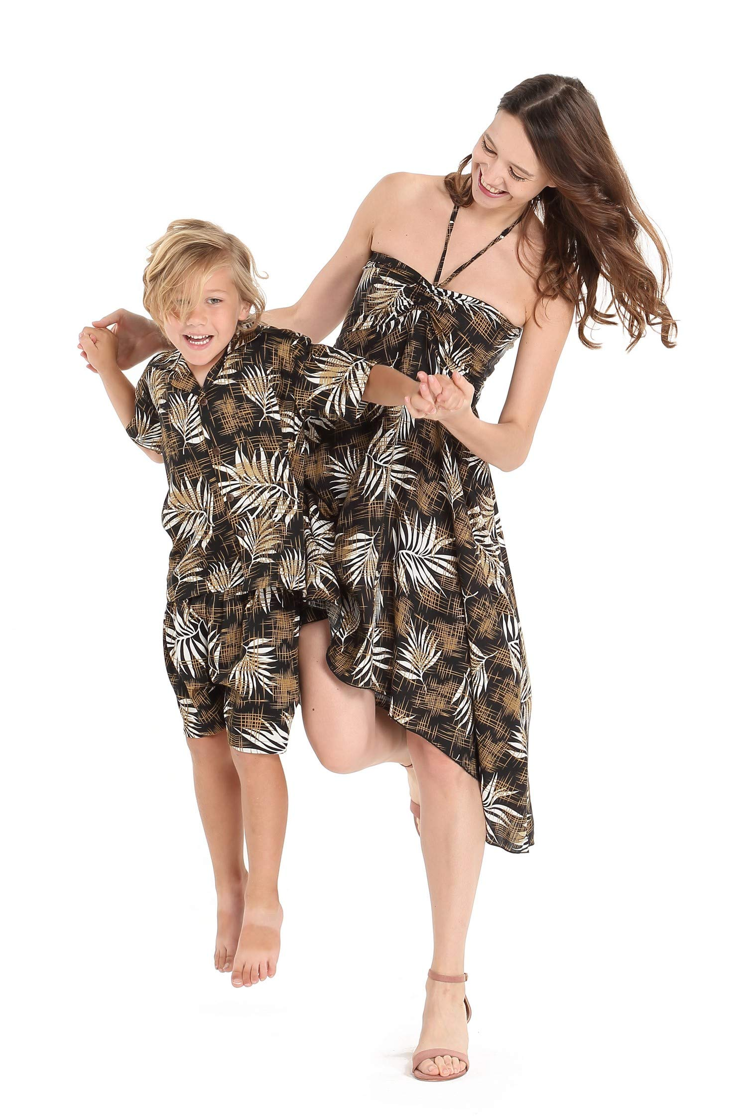 Matching Mother Son Hawaiian Luau Outfit Dress Shirt in Leaves in Black Women L Boy 8