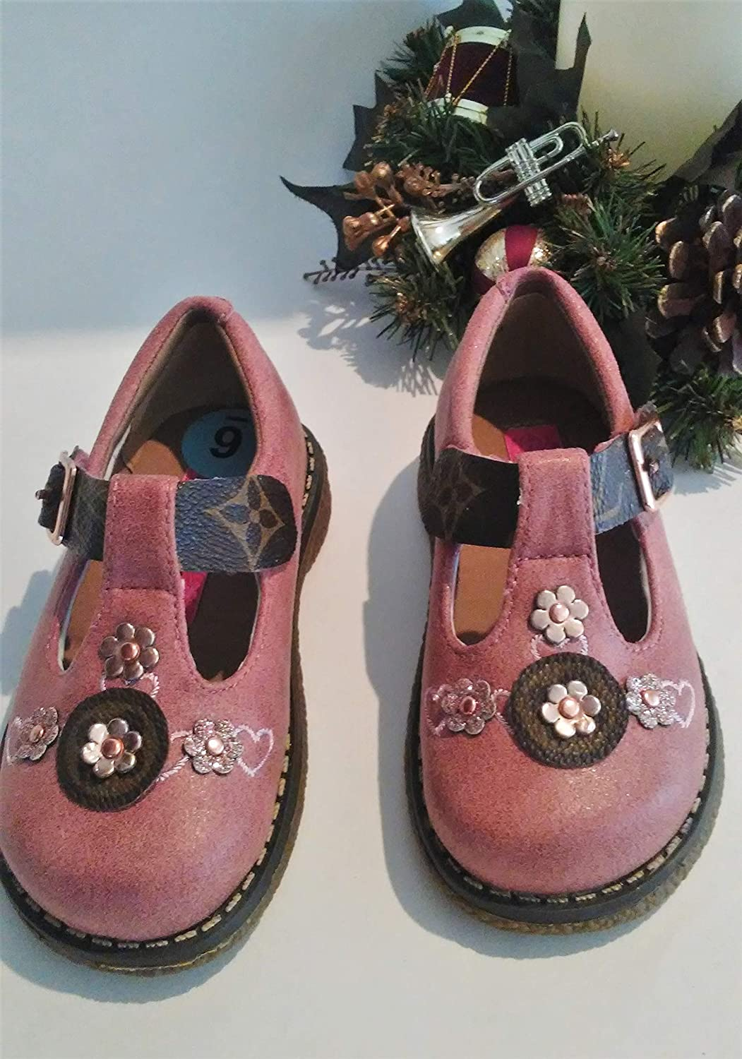 05123ae7d7fa Toddler Shoes fashioned w Louis Vuitton upcycle. Size 6- CUTE!! Little Girl  PINK Mary Jane Shoes. Great Gift!!  Handmade
